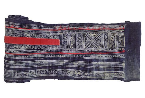 """Blue and White Batik with Applique TREASURE TROVE Yao Hill Tribes of Asia 248""""L x 11""""W ($400.00)  $269.00 One Kings Lane"""