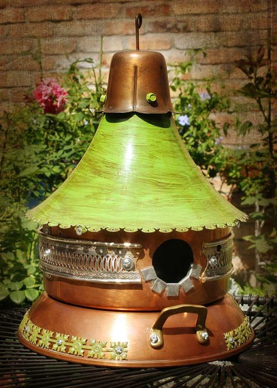 Green Cottage Duplex Birdhouse with Recycled Copper Pans and Silver Trim