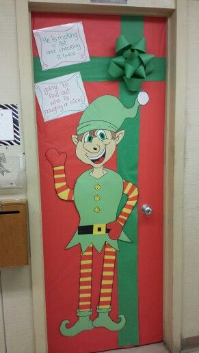 Elf and present school door decoration christmas fun for Elf door decoration