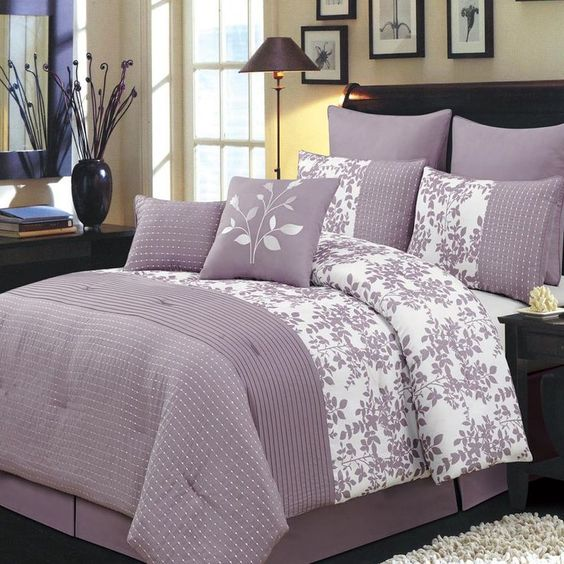 lea 6 8 comforter set in purple white bed bath 8pc modern floral plum white comforter set colors 794