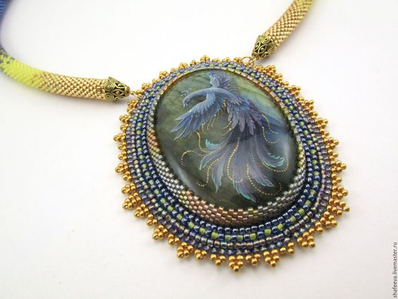Купить Синяя птица - голубой, желтый, золотой, спектролит, лабрадорит, колье, колье из бисера, украшения