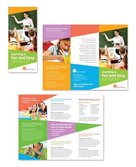 Preschool Education Tri Fold Brochure Templatedlayouts – Advertising Brochure Template