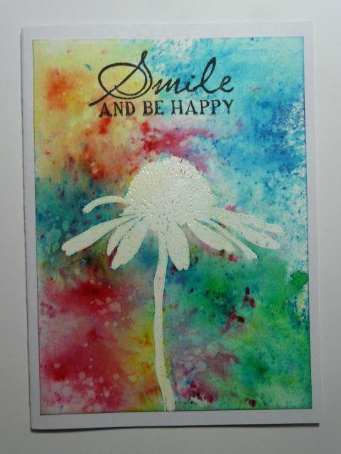 Brusho resist with Darkroom Door Carved Flowers Rubber Stamps.