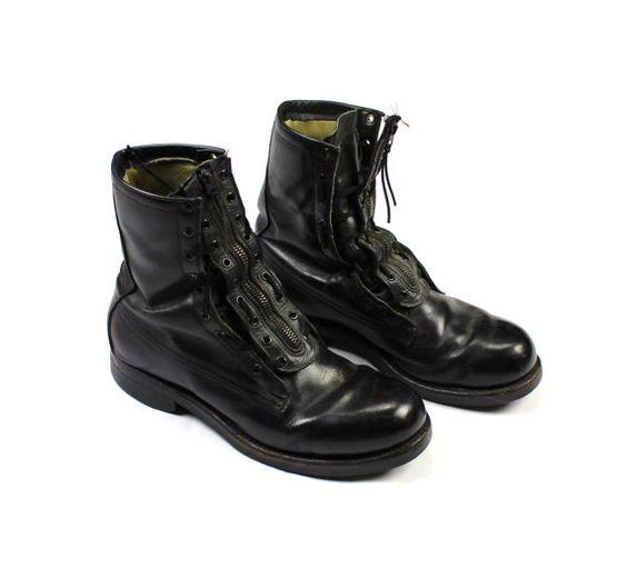 Vintage 1965 US Military Black Leather Combat Boots DSA100-1751 Mens Size 8 1/2 D
