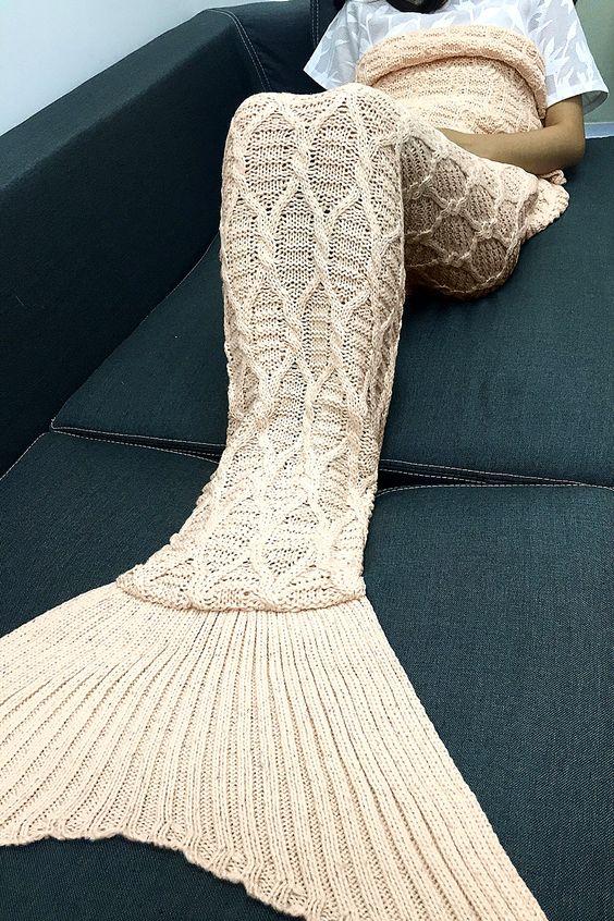 Geometric Blanket Knitting Pattern : Simple Style Solid Color Crochet Knitting Geometric Pattern Mermaid Tail Desi...