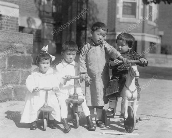 Cute Small Children Scooter Riders! 8x10 Reprint Of Old Photo