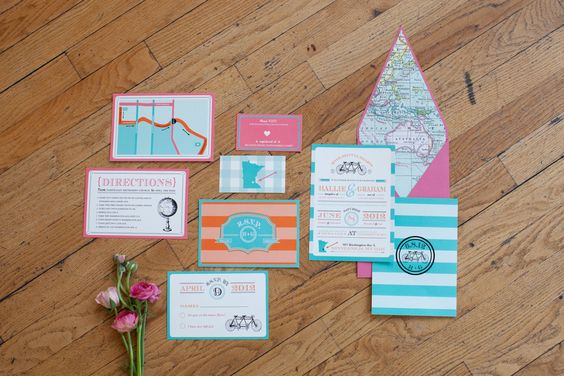 The atlas-lined envelope is a great idea for a destination wedding.