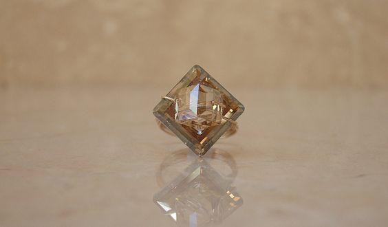 Gold ring Swarovski by vivicadesigns on Etsy