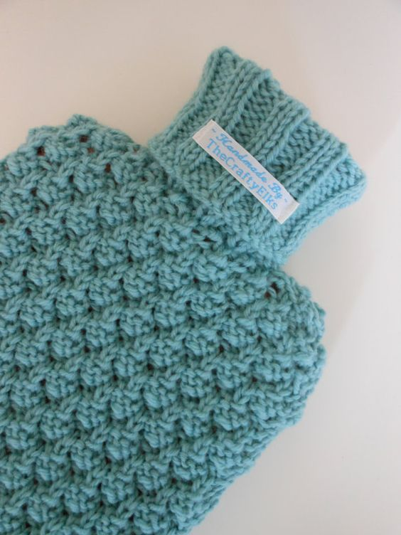 Free Knitting Pattern For Small Hot Water Bottle Cover : Mint green, Bottle and Wool on Pinterest