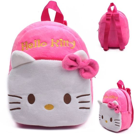 Hello kitty plush 3-D backpack Perfect for all the on the go stuff you're going to do that's over it would make a great gift adjustable strap but appropriate for toddler to kindergarden. Brand-new in the package comes from a smoke free pet free environment Bags Baby Bags