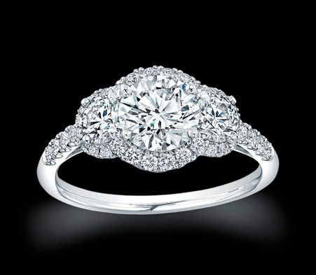 Three Stone Halo Ring Settings | The Spiral Halo : This stunning Hearts on Fire engagement ring is ...