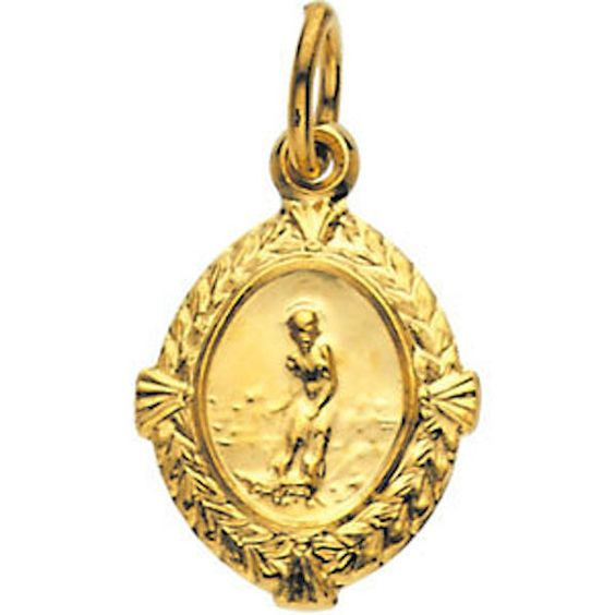 14kt Yellow Gold 12x9mm St. Lazarus Medal Religious Jewelry by SugaredJewels on Etsy