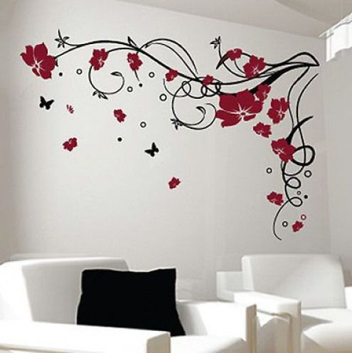 Large Flower Butterfly Vine Wall Stickers Wall Decals Extra Large Jetski Jetski Dese Simple Wall Paintings Tree Wall Decal Living Room Wall Painting Decor
