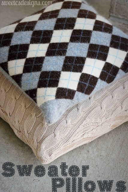 Recycled Sweater Pillows Argyle sweaters, How to make pillows and So cute