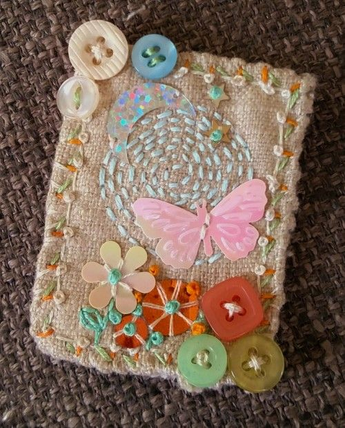 "This beautiful ""Butterfly Moon"" Textile Mixed media Brooch features hand…"