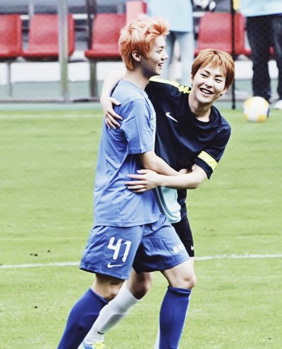 Image result for xiumin luhan watch soccer
