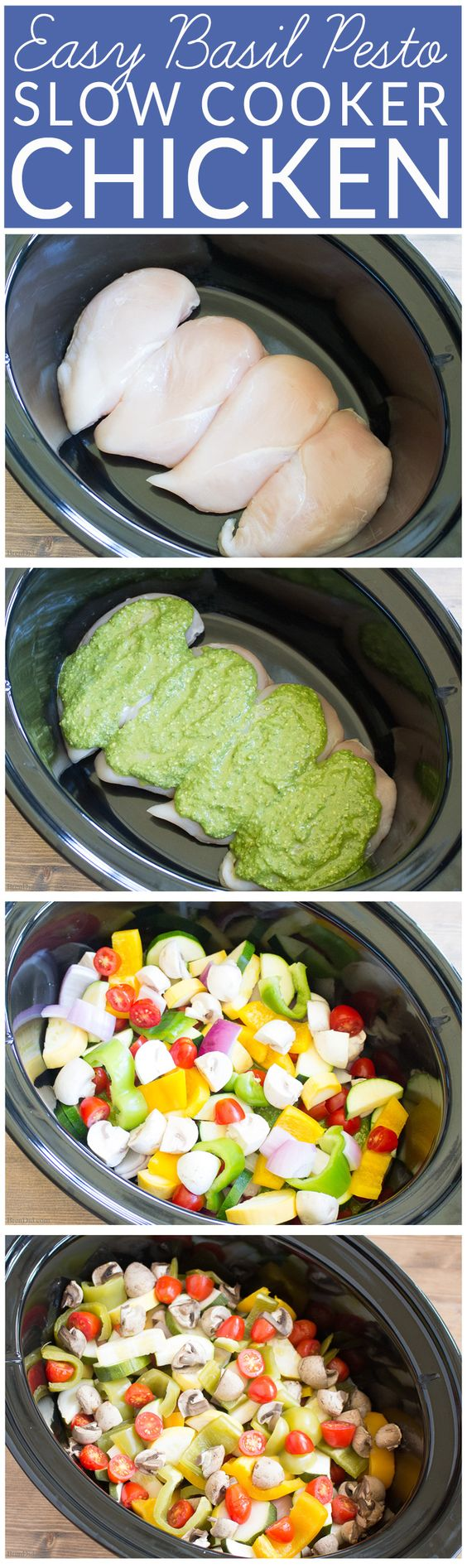 Chicken pesto pasta easy crockpot recipe vegetables for Healthy vegetarian crock pot recipes easy