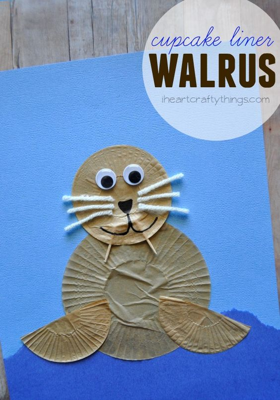 Make a Walrus Kids Craft out of cupcake liners. Fun craft for an ocean theme and for preschool. from iheartcraftythings.com