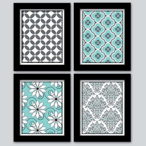 Teal And Grey Home Decor Wall Art Digital Prints Girls