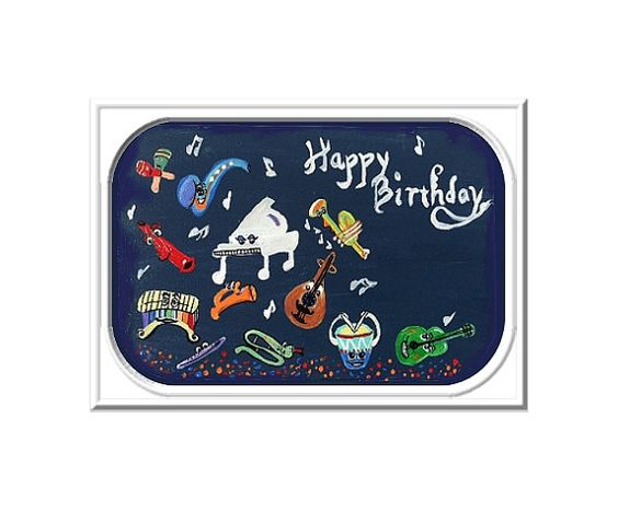 Musical Instruments Digital Card Music Art by CowberryMoonCards