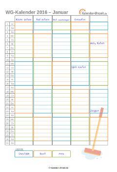 Putzkalender oder WG-Kalender 2016 für 3er WG http://www.kalender-uhrzeit.de/kalender-2016/ausdrucken #KalUhr
