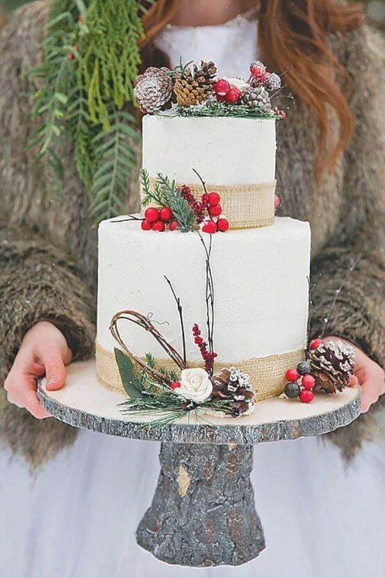 30 Beautiful Simple Rustic Winter Wedding Cakes Ideas Winter