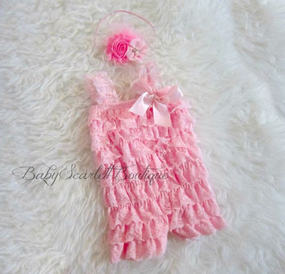 Pink Lace Petti Romper with Headband Set by babyScarlettBoutique