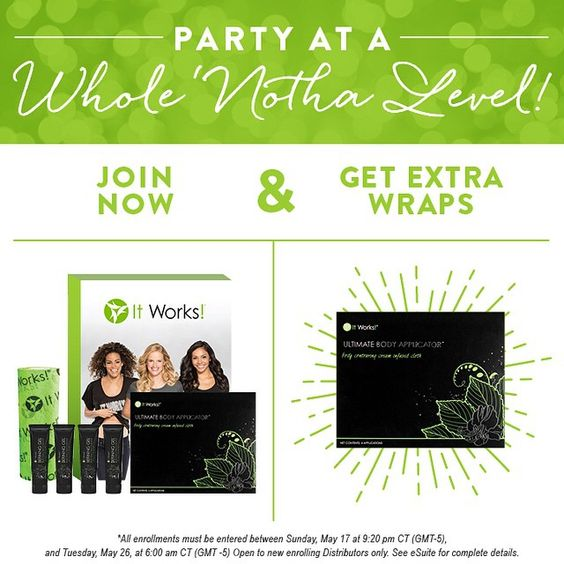 Now's the time to join my team! You get an extra box for extra WRAP CASH or you can use it to GROW YOUR OWN TEAM!  ASK ME HOW. EMAIL ME AT: irmaknowswraps@gmail.com   EXTENDED! Party  at a Whole Notha Level now through 6am CT, Tuesday morning, May 26, and receive an extra box  of Wraps with the new Business Builder Kit!