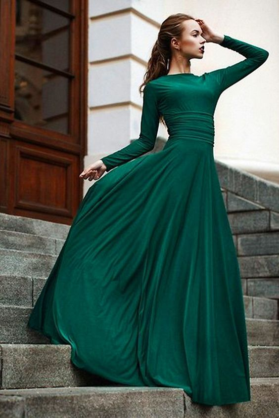 A-line Pink Green Floor Length Pleated Scoop Zipper Up Chiffon Long Sleeves Evening Dresses
