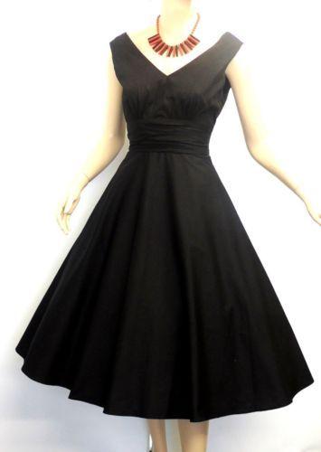New Classy Ladies Vtg 1940'/50s style Plain Black Audrey Swing Tea Dress