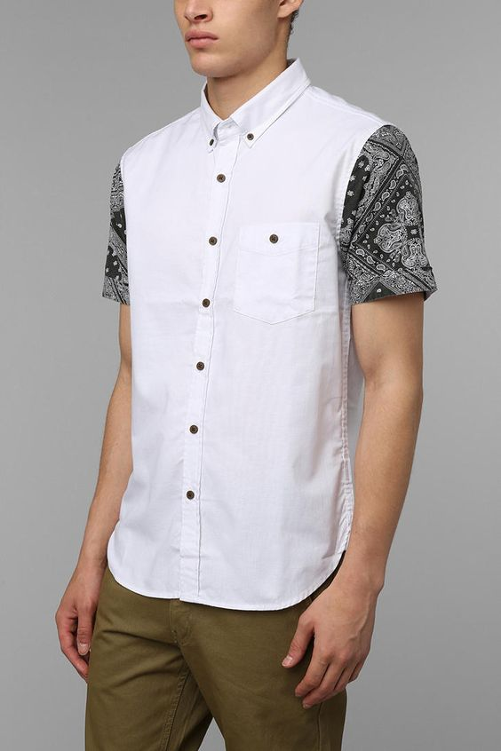 Urban Outfitters Zanerobe Bandana Buttondown Shirt in White for Men | Lyst