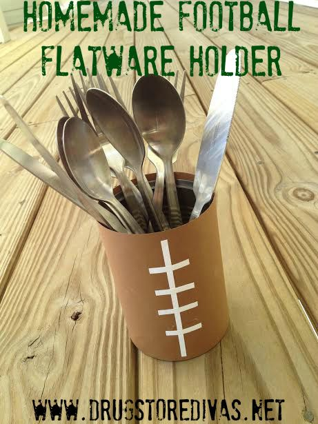 Are you ready for some FOOTBALL?! Get ready for your perfect football party with this homemade football flatware holder -- made from a soup can! It's perfect for your Super Bowl party or your next tailgate.