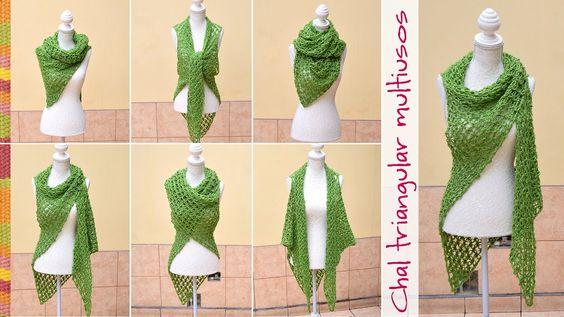 Chal con sisas triangular multiusos tejido en nudo salomon a crochet / E...