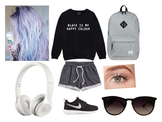 """""""My perfect outfit"""" by nono-viana on Polyvore featuring H&M, NIKE, Herschel Supply Co., Benefit, Ray-Ban and Beats by Dr. Dre"""