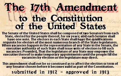 seventeenth amendment to the united states A hypertext version of the united states constitution us constitution the (the preceding words in parentheses were superseded by the 17th amendment.