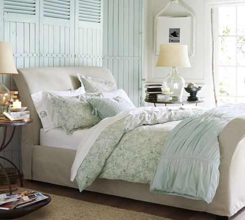 Linen covered Sleigh bed from Pottery Barn
