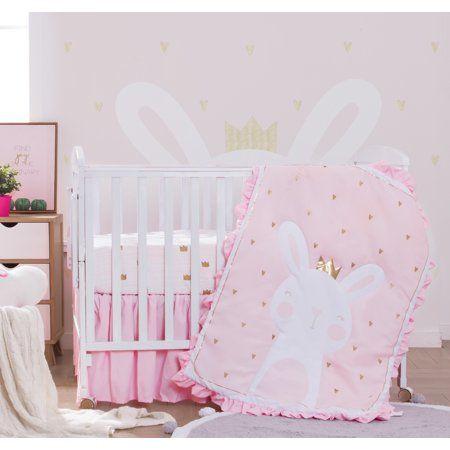 3 Piece Crib Baby Bedding Set Pink Bunny Walmart Com In 2021 Baby Bedding Sets Princess Crib Bedding Baby Bed 3 piece crib bedding set