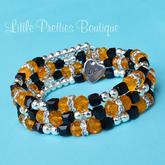 Orange and Black Beaded Bracelet Memory Wire Halloween Bracelet by LittlePrettiesBoutiq