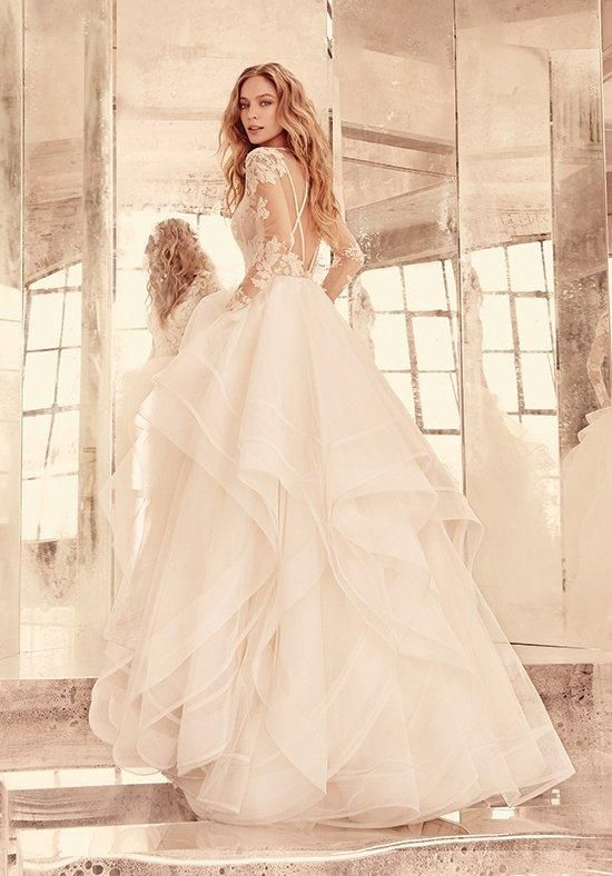 Style Elysia/6556 from Hayley Paige   Ivory long sleeve lace ball gown, V-front bateau illusion neckline, keyhole back with piping accent, cascading tulle skirt with thin double horsehair edging.   https://www.theknot.com/fashion/elysia-style-6556-hayley-paige-wedding-dress