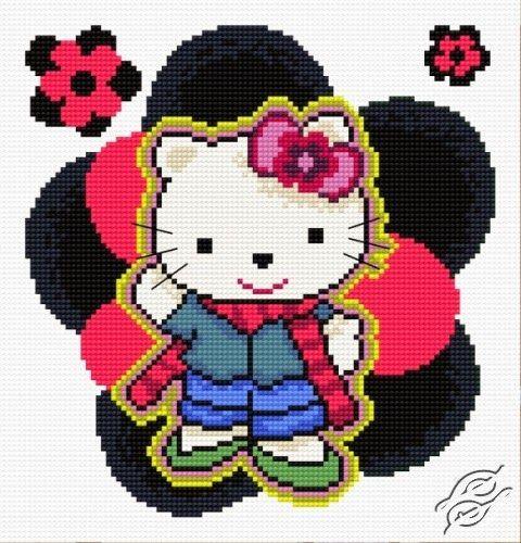 Bonito gráfico de Hello Kitty con flores...