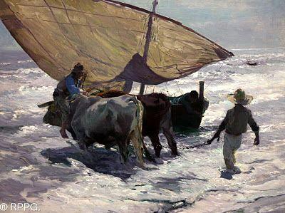 Enganchando los bueyes, Valenciaóleo sobre lienzo 82 x106 cm Museo de Bellas Artes, Asturias