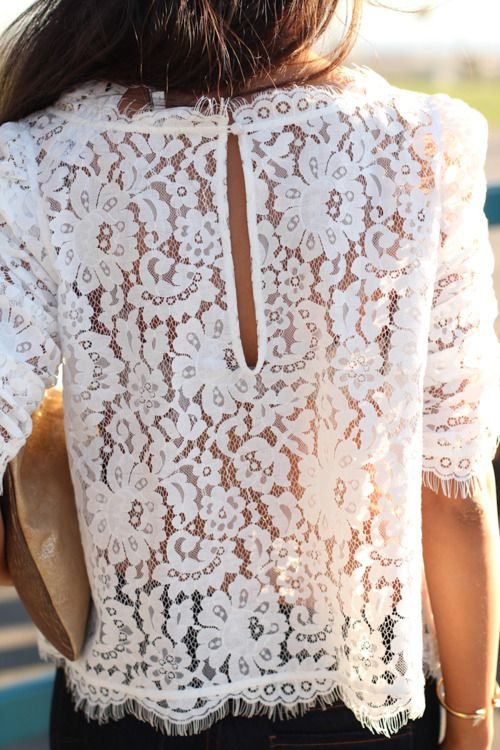 Lace top with a little peek-a-boo back.