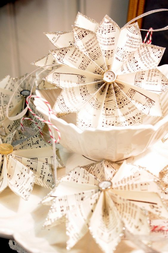 romantic homes pinterest   These sheet music pinwheels offer a Victorian touch to the table. They ...
