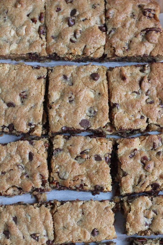 Best Ever Blondies! Using white chocolate chips plus semisweet chocolate chips gives these blondies a rich, full flavor. Recipe from America's Test Kitchen. . plus a cookbook giveaway! #blondies #baking #holidays #cookbook: