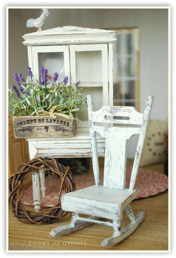 Lovely cute Miniature Shabby Rocking Chair Furniture