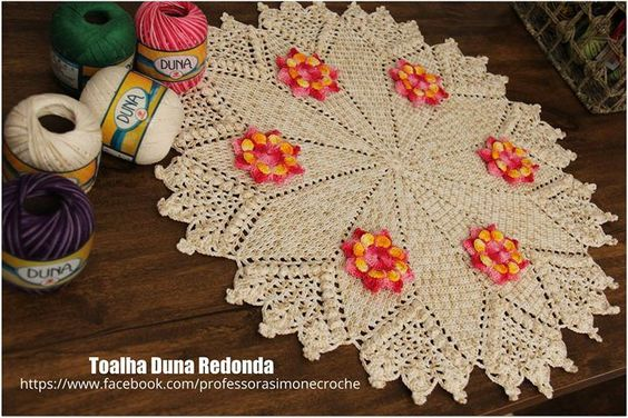 Toalha Duna Redonda vamos fazer?   http://ow.ly/UfUFU #crochet #professorasimone #semprecirculo #Duna