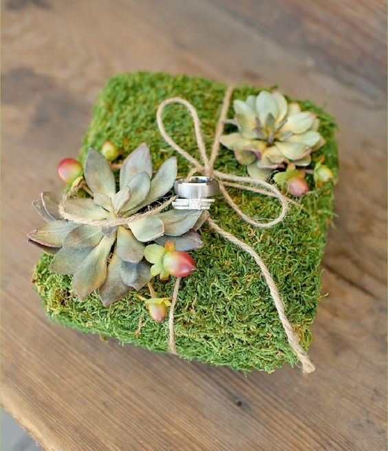 Natural Moss Wedding Ring Pillow with Succulents. $28.00, via Etsy.:
