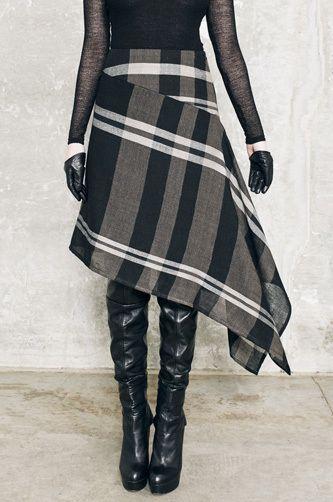 Hanging Skirt (Wood Check) - LUI HON
