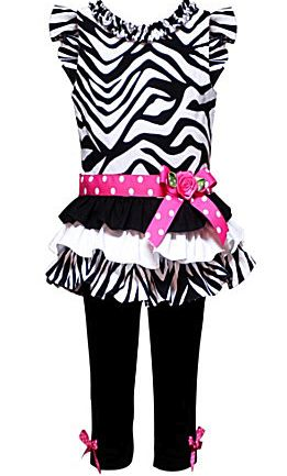 Rare Editions Zebra Tiered Dress and Legging Set Size 4T $28.99