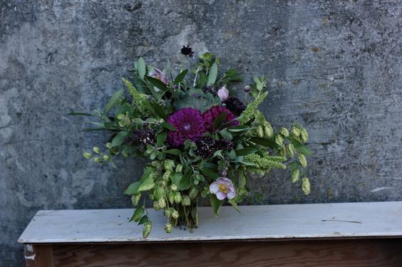 Purple and green natural wedding bouquet. Dahlias, Hops, Japanese anenomes, cabbage. www.forestandfieldcreative.com